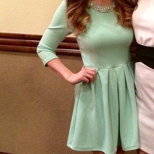 Mint dress bow back